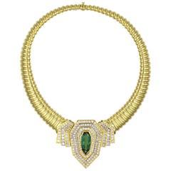 1970s Green Tourmaline Diamond Yellow Gold Statement Necklace