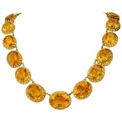 1870s Victorian Citrine Gold Necklace