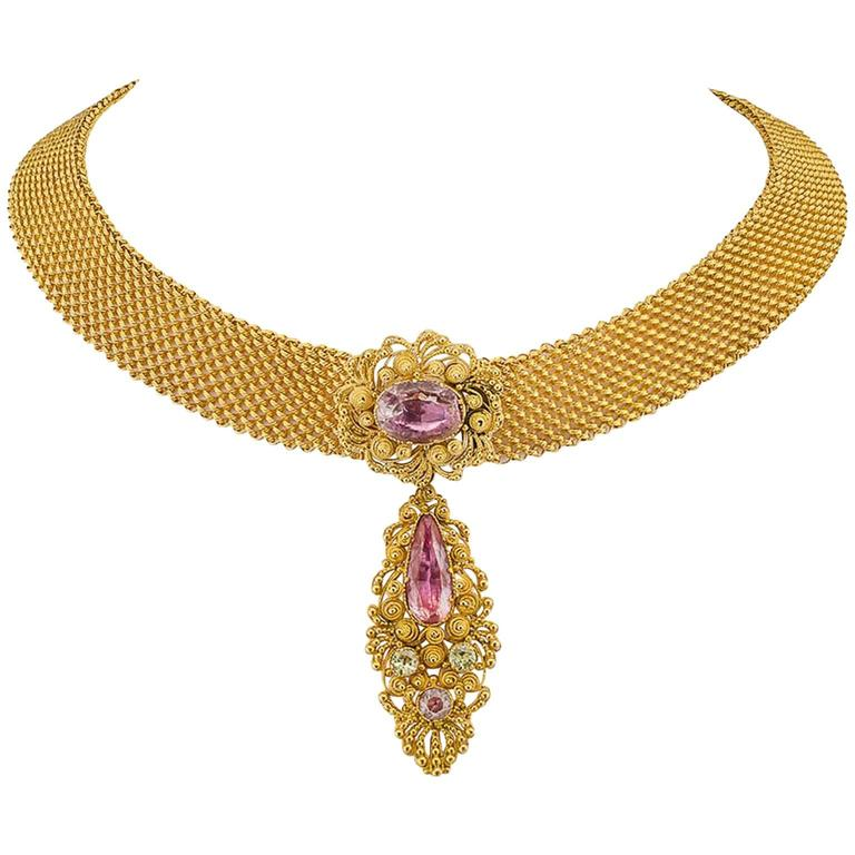 1830s English Georgian Pink Topaz Cannetille Gold Choker For Sale