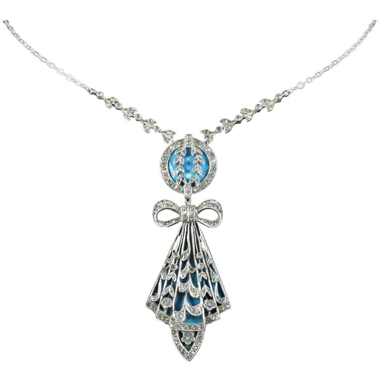 Antique Art Deco Silver Blue Enamel Pendant Necklace For Sale