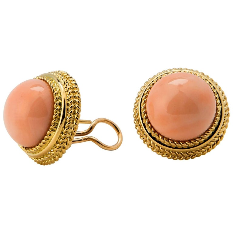 Classic Angel Skin Coral gold Earrings For Sale