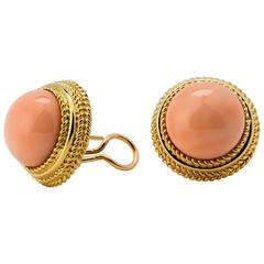 Classic Angel Skin Coral gold Earrings