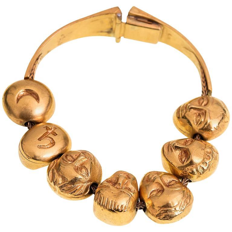 Line Vautrin Rare Planets Gilded Gold Bronze Bracelet