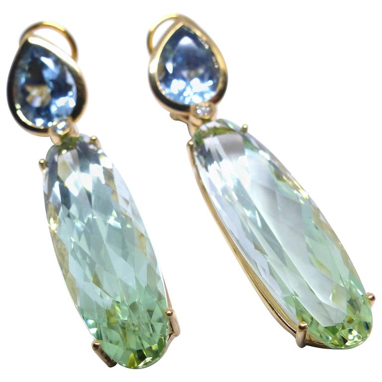 Fine Aquamarine Green Beryl 18K Gold Chandelier Earrings