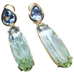 Aquamarine Green Beryl Chandelier Earrings