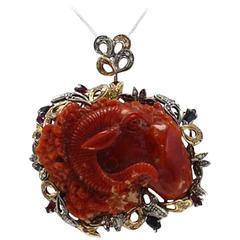 Coral Ruby Sapphire Emerald Diamond Silver Gold Pendant