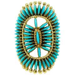 Edith Tsabetsaye Turquose Yellow Gold Needlepoint Ring circa 1970
