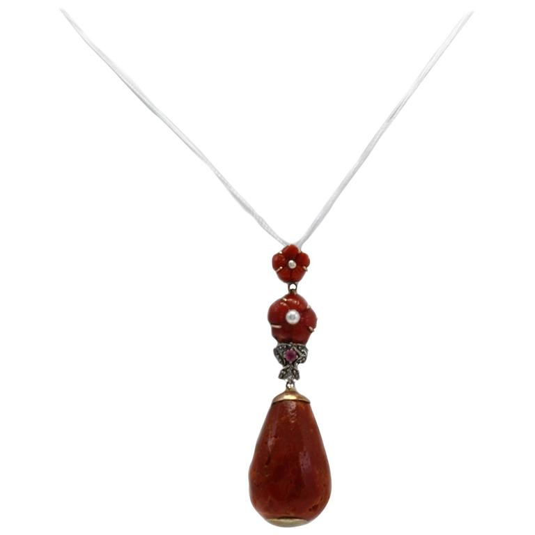 Coral Pearl Ruby Diamond Silver Gold Pendant