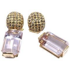 Leyser 18k Rose Gold Morganites & Brown Diamonds Earrings