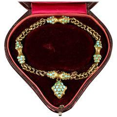 Antique Georgian Turquoise 18 Carat Gold Bracelet Boxed with Locket