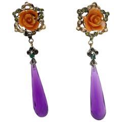 Luise Coral Amethyst Sapphire Diamond Silver Gold Dangle Earrings