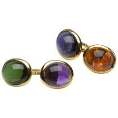 Tiffany & Co. Multi-Color Stone Gold Cufflinks