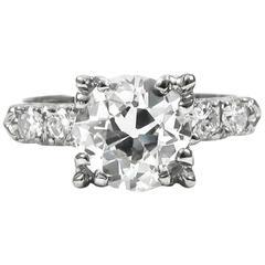 1.41 Carat Old European-Cut Diamond White Gold Engagement Ring