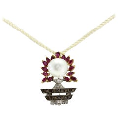 Gold Diamond Ruby Pearl Pendant/Brooch