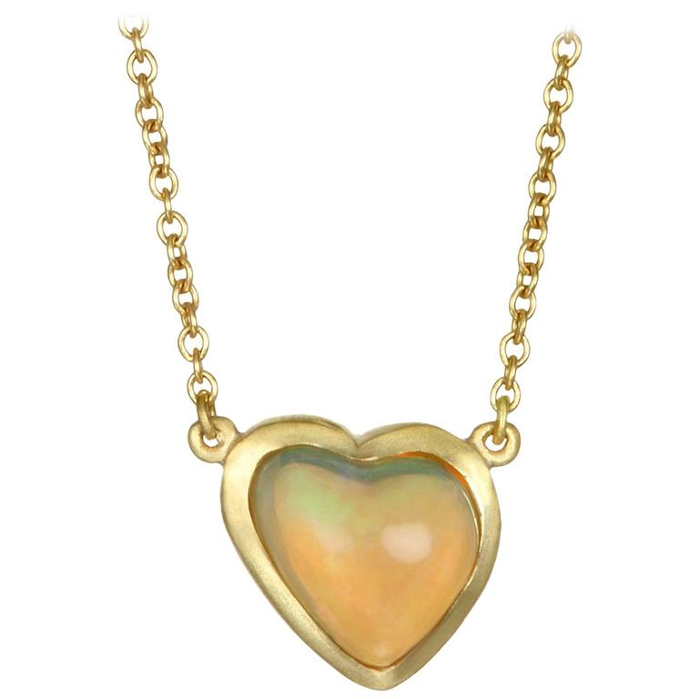 Faye Kim Mexican Opal Gold Necklace For Sale