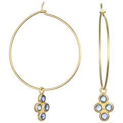 Faye Kim Gold Wire Hoop Earrings with Blue Sapphire Drops