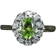 Antique Victorian Peridot Diamond Engagement Ring 18 Carat Gold