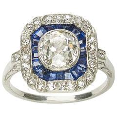 Sapphire Diamond and Platinum Ring