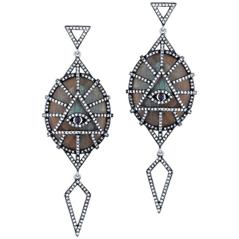 Labradorite Diamond Spirit Eye Drop Earrings