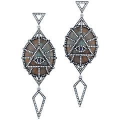 Labradorite Diamond Spirit Eye Drop Earrings
