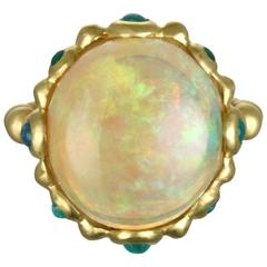 Faye Kim Ethiopian Opal and Paraiba Tourmaline Ring
