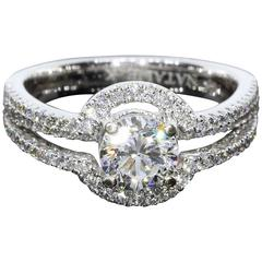 Natalie K Round Diamond White Gold Three-Row Halo Engagement Ring