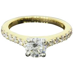 GIA Certified Gold and Platinum Shared Prong Round Diamond Engagement Ring
