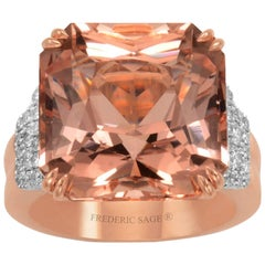 Frederic Sage 17.24 Carat Morganite Diamond One of Kind Ring