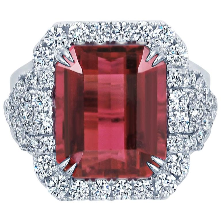 Frederic Sage One of Kind Rubellite and Diamond ring set in 18K White Gold.   Rubellite 10.19 Carats Diamond Count 56 Diamond Weight 1.55 Carats