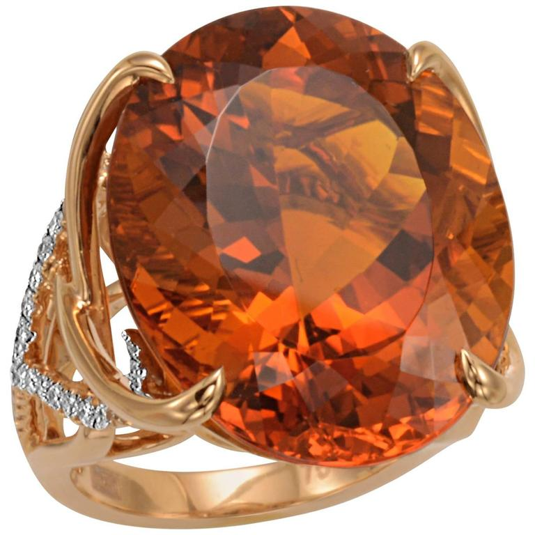 Frederic Sage 31.30 Carat Madeira Citrine Diamond Cocktail Ring