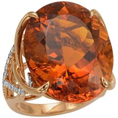 Frederic Sage 31.30 Carat Madeira Citrine Diamond Cocktail Ring
