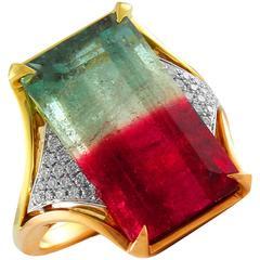 Frederic Sage 17.94 Carat Watermelon Tourmaline Diamond Cocktail Ring