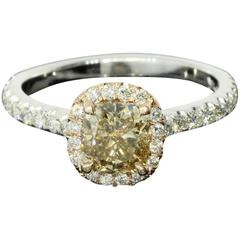 Fancy Pinkish Brown Cushion Diamond Halo Engagement Ring