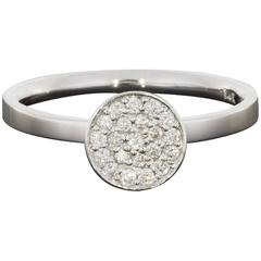 Pave Round Diamond White Gold Stack Fashion Ring