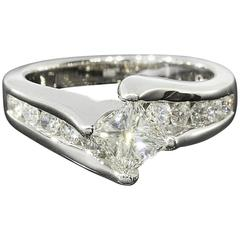 White Gold Princess Diamond on Point Bypass Engagement Ring