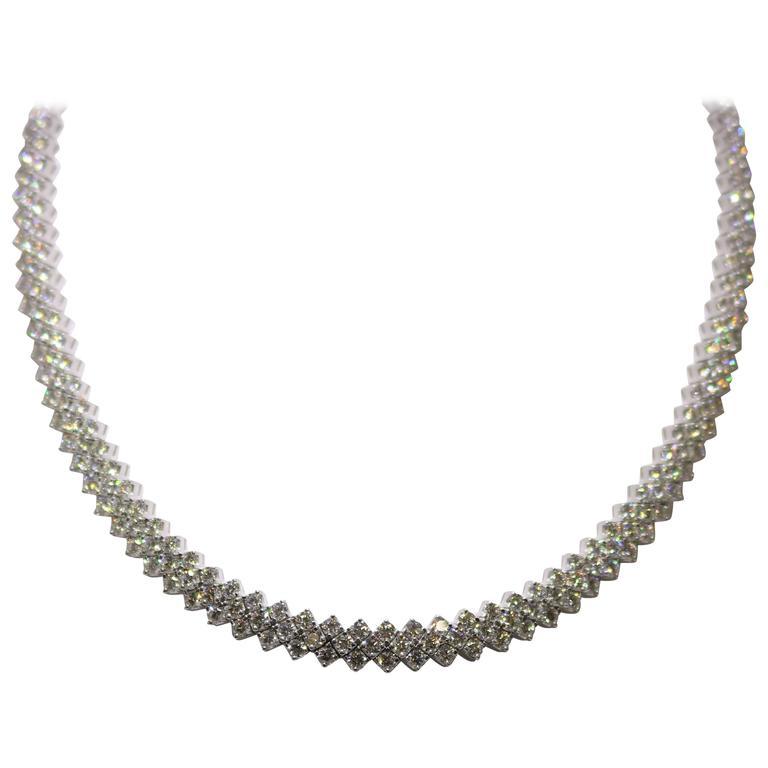Three-Row Diamond Necklace