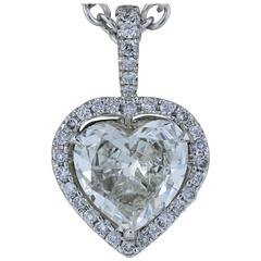 Heart Shape Halo 1.65 Carat Diamond white gold Pendant