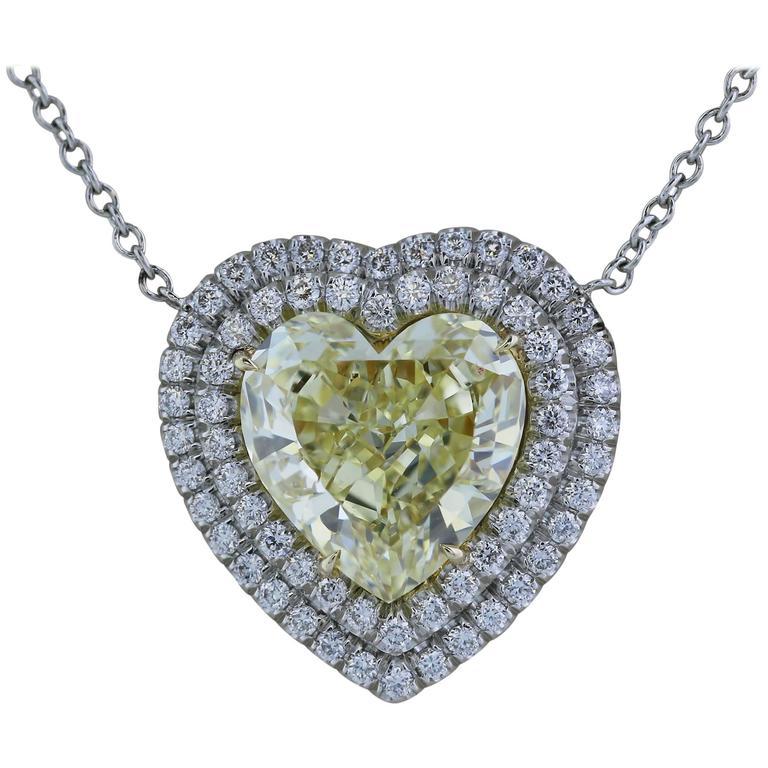 2.59 Carat GIA Certified Canary Heart Shape Diamond Gold Pendant