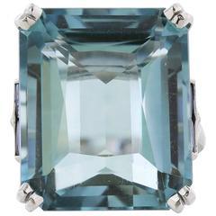 24.85 Carat Emerald Cut Aquamarine Sapphire Baguette Platinum Ring