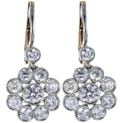 1.65 Carats Diamonds White Gold Floral Motif Earrings