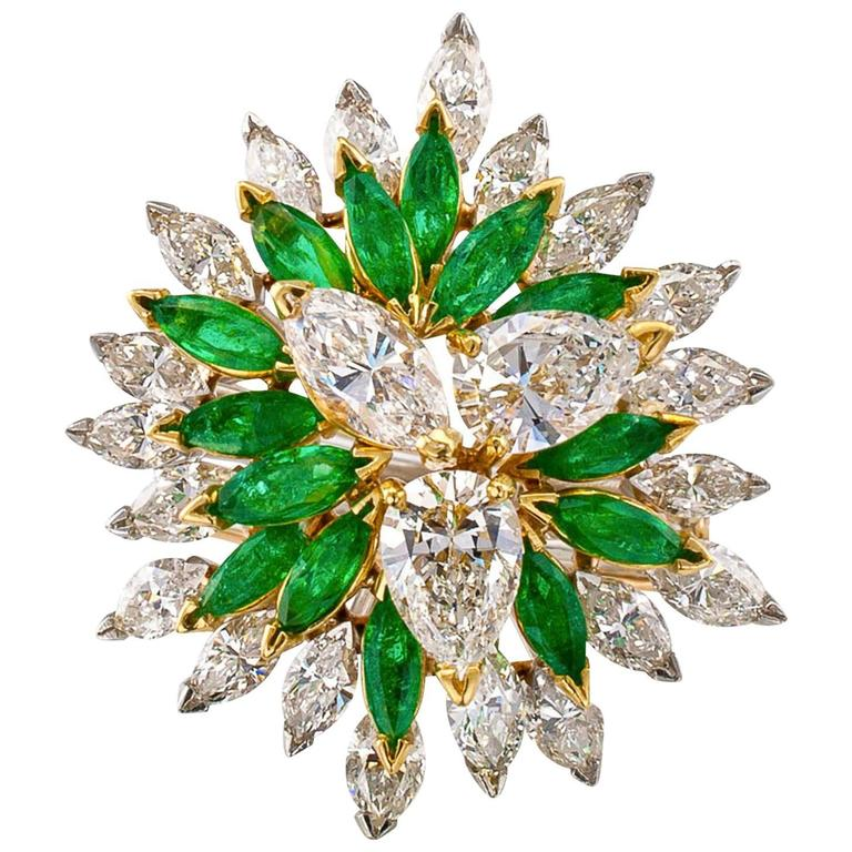 1970s Free-Form Emerald Diamond Gold Cocktail Ring