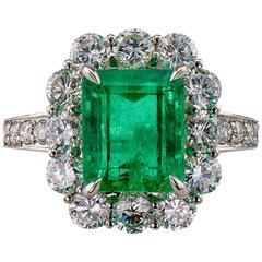 Emerald-Cut 2.93 Carat Colombian Emerald Diamond Platinum Ring