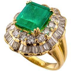 3.75 Carat Square-Cut Emerald Diamond Gold Cluster Ring