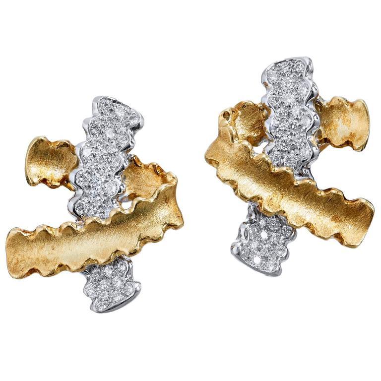 Nicholas Varney Gold Platinum Earrings