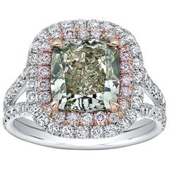 Exotic 3.06 Carat GIA Certified Fancy Grey Greenish Yellow Diamond Ring