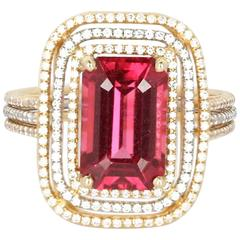 Elegant Emerald Cut Spinel and Diamond Ring