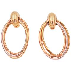 Cartier Tricolored Gold Oval Hoop Earrings