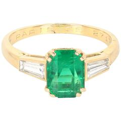 Chaumet Emerald Diamond Yellow Gold Ring