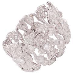 1930s Wide Diamond Platinum Bracelet