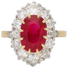 Edwardian Pigeon Blood Burmese Ruby and Diamond Ring